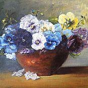 Картины и панно handmade. Livemaster - original item Oil painting Flowers Pansy. Handmade.