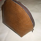 Сумки и аксессуары handmade. Livemaster - original item Cosmetic bag made of Italian patent leather under the reptile. Handmade.