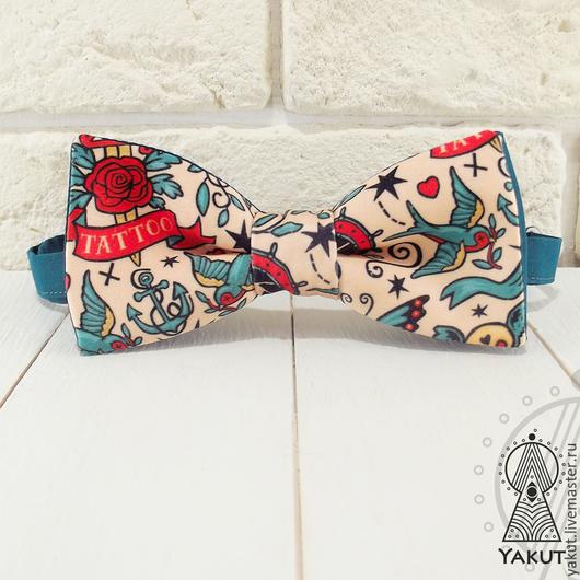 Галстуки, бабочки ручной работы. Ярмарка Мастеров - ручная работа. Купить Галстук бабочка Тату атлас / бабочка-галстук Tatoo бирюзовая. Handmade.