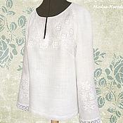 Одежда ручной работы. Ярмарка Мастеров - ручная работа Блузка БЕЛАЯ ЛИЛИЯ Блузка кружевная Блуза Белая блузка Вышиванка белая. Handmade.