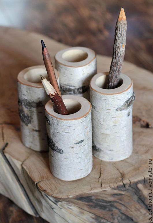Карандашницы ручной работы. Ярмарка Мастеров - ручная работа. Купить Карандашницы из березы. Handmade. Белый, подставка, офис, в офис, дизайн