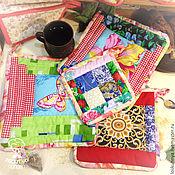 Для дома и интерьера ручной работы. Ярмарка Мастеров - ручная работа Набор кухонного текстиля, набор из четырёх прихваток пэтчворк, хлопок. Handmade.