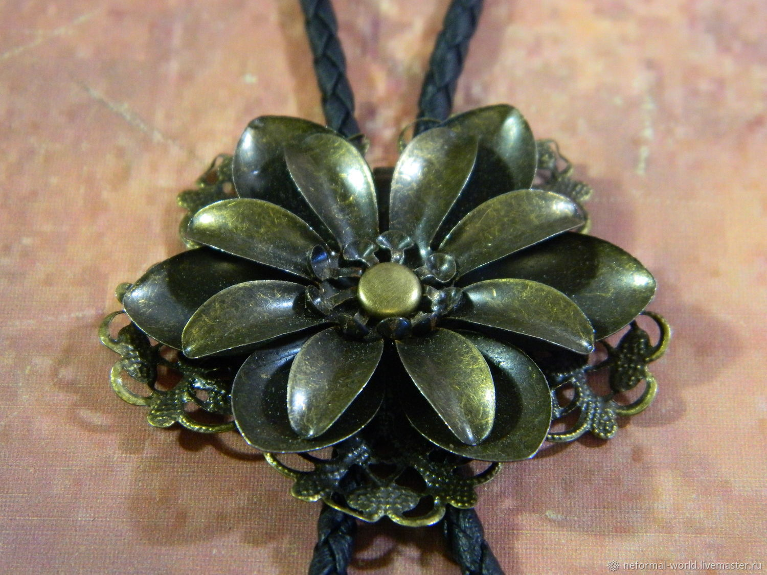 Bolo tie 'FLOWER' bronze, braided cord made of eco-leather, Ties, Saratov,  Фото №1