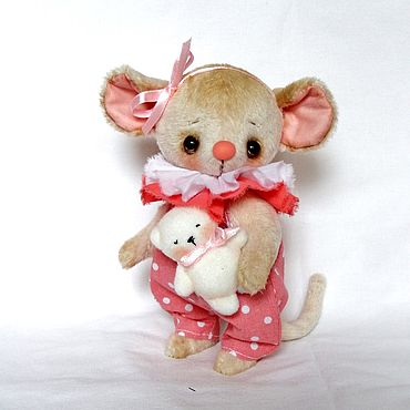 Куклы и игрушки ручной работы. Ярмарка Мастеров - ручная работа Игрушки: Малышка с мишкой (  мышка тедди ). Handmade.