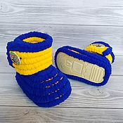 Работы для детей, handmade. Livemaster - original item Children`s shoes: plush knitted boots, 13 cm on the foot. Handmade.