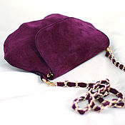 Classic Bag handmade. Livemaster - original item Handbag is made of purple suede on gold chain art.257. Handmade.