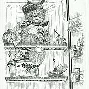 Картины и панно ручной работы. Ярмарка Мастеров - ручная работа Кот Василий на зимней рыбалке. Графика картина юмор. Handmade.
