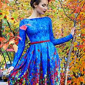 Одежда ручной работы. Ярмарка Мастеров - ручная работа Синее платье. Handmade.