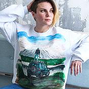 Мужская одежда handmade. Livemaster - original item Sweatshirt sweatshirt the Mountain, the traveller, the sky is hand painted. Handmade.