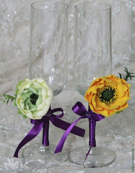 """Свадебные аксессуары ручной работы. Ярмарка Мастеров - ручная работа. Купить Бокалы """"Весенний каприз"""". Handmade. Свадьба, разнообразные"""