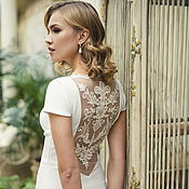 Свадебный салон handmade. Livemaster - original item Ivory Open Back Wedding Dress with Lace on the Back and with Train L24. Handmade.