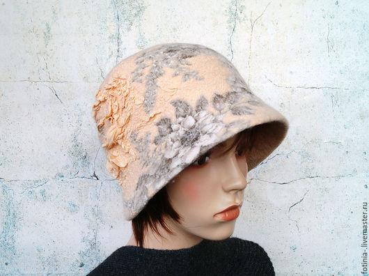 Шляпы ручной работы. Ярмарка Мастеров - ручная работа. Купить Шляпа клош валяная НЕЖЕНКА. Handmade. Бежевый, головной убор
