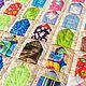 """Текстиль, ковры ручной работы. Ярмарка Мастеров - ручная работа. Купить Лоскутное покрывало """"Домики"""" в стиле пэчворк. Handmade. Разноцветный"""