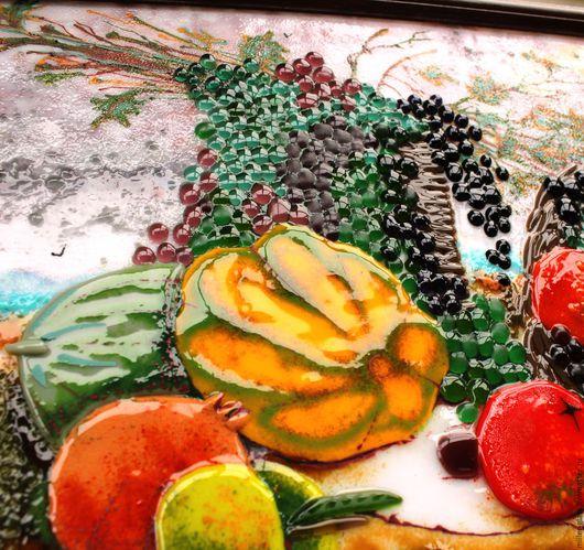 """Натюрморт ручной работы. Ярмарка Мастеров - ручная работа. Купить """"Натюрморт с виноградом"""" фьюзинг. Handmade. Картина, картина из стекла"""