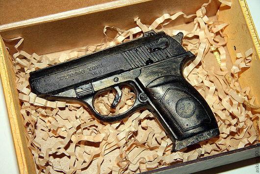 Мыло ручной работы. Ярмарка Мастеров - ручная работа. Купить Пистолет. Handmade. Черный, мыло сувенирное, подарок мужчине