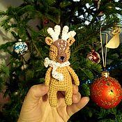 Мягкие игрушки ручной работы. Ярмарка Мастеров - ручная работа Маленький новогодний олененок. Handmade.