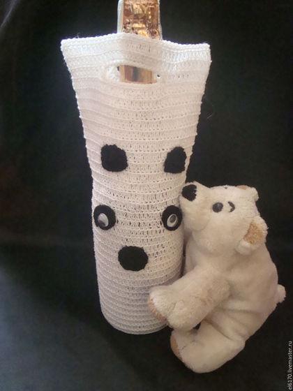 Подарочное оформление бутылок ручной работы. Ярмарка Мастеров - ручная работа. Купить Подарочный вязаный чехол- сумка для бутылки  Снежная Панда. Handmade.