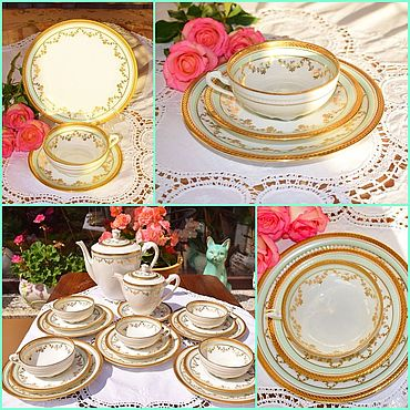 Vintage handmade. Livemaster - original item LIMOGES.Incredible beauty of tea and coffee service.France.. Handmade.