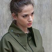 Одежда ручной работы. Ярмарка Мастеров - ручная работа Легкая куртка в стиле милитари / Куртка хаки со съемным воротником. Handmade.