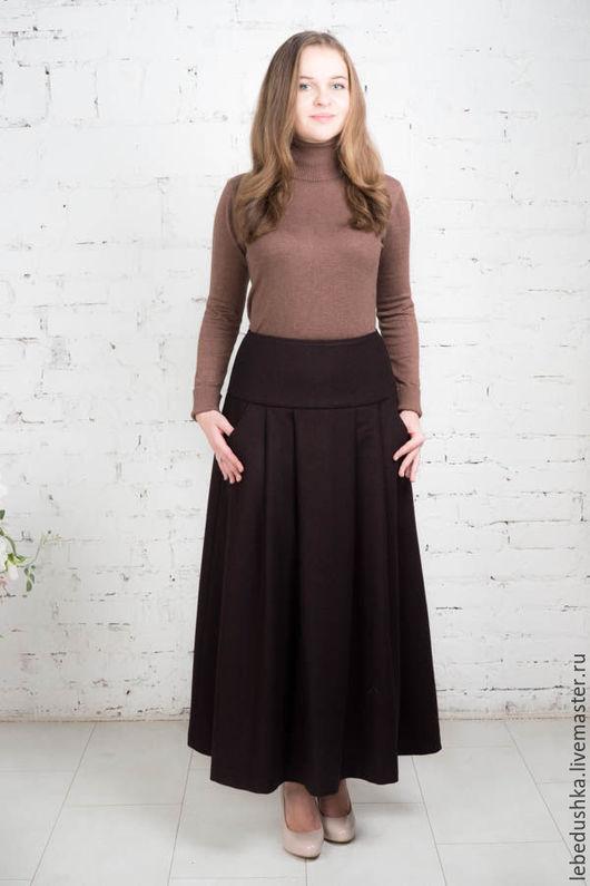 """Юбки ручной работы. Ярмарка Мастеров - ручная работа. Купить Зимняя макси юбка """"Брауни"""". Handmade. Комбинированный, юбка в пол"""
