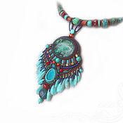 Украшения handmade. Livemaster - original item Turquoise ethno necklace (pendant) with pendants Chrysocolla, amazonite, coral. Handmade.