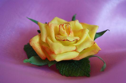 """Броши ручной работы. Ярмарка Мастеров - ручная работа. Купить Брошь """"Желтая роза"""". Handmade. Роза, желтый, желтый цветок"""