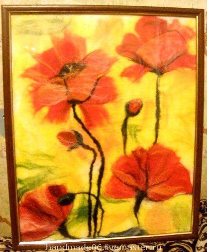 """Картины цветов ручной работы. Ярмарка Мастеров - ручная работа. Купить Картина из шерсти """"Маки"""". Handmade. Картины из шерсти, маки"""
