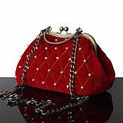 Сумки и аксессуары handmade. Livemaster - original item Velvet handbag, crimson, bag velvet, vintage. Handmade.
