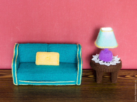 Кукольный дом ручной работы. Ярмарка Мастеров - ручная работа. Купить Вязаная кукольная мебель. Handmade. Тёмно-бирюзовый