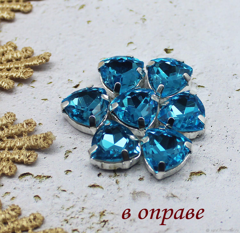 Premium Trillian 12 mm aquamarine rhinestones in grey and gold. rims, Rhinestones, Solikamsk,  Фото №1