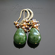 Украшения handmade. Livemaster - original item Drop earrings green with jade green earrings, jade earrings. Handmade.