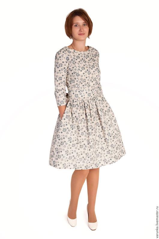 Платья ручной работы. Ярмарка Мастеров - ручная работа. Купить платье Леди. Handmade. Голубой, винтажное платье, Платье в цветочек