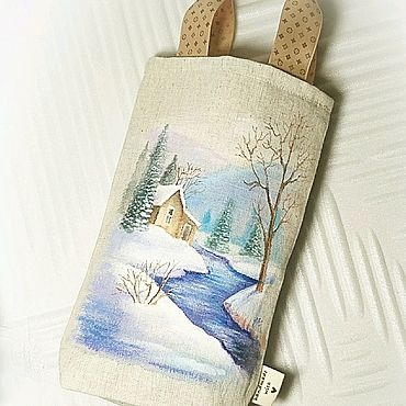 """Мешочек для подарков """"Зимний пейзаж"""". Лён. Ручная роспись."""