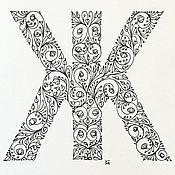 Картины и панно ручной работы. Ярмарка Мастеров - ручная работа Графический алфавит. Handmade.