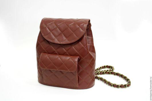 Рюкзаки ручной работы. Ярмарка Мастеров - ручная работа. Купить Кожаный рюкзак. Handmade. Бордовый, рюкзачок из стеганой кожи