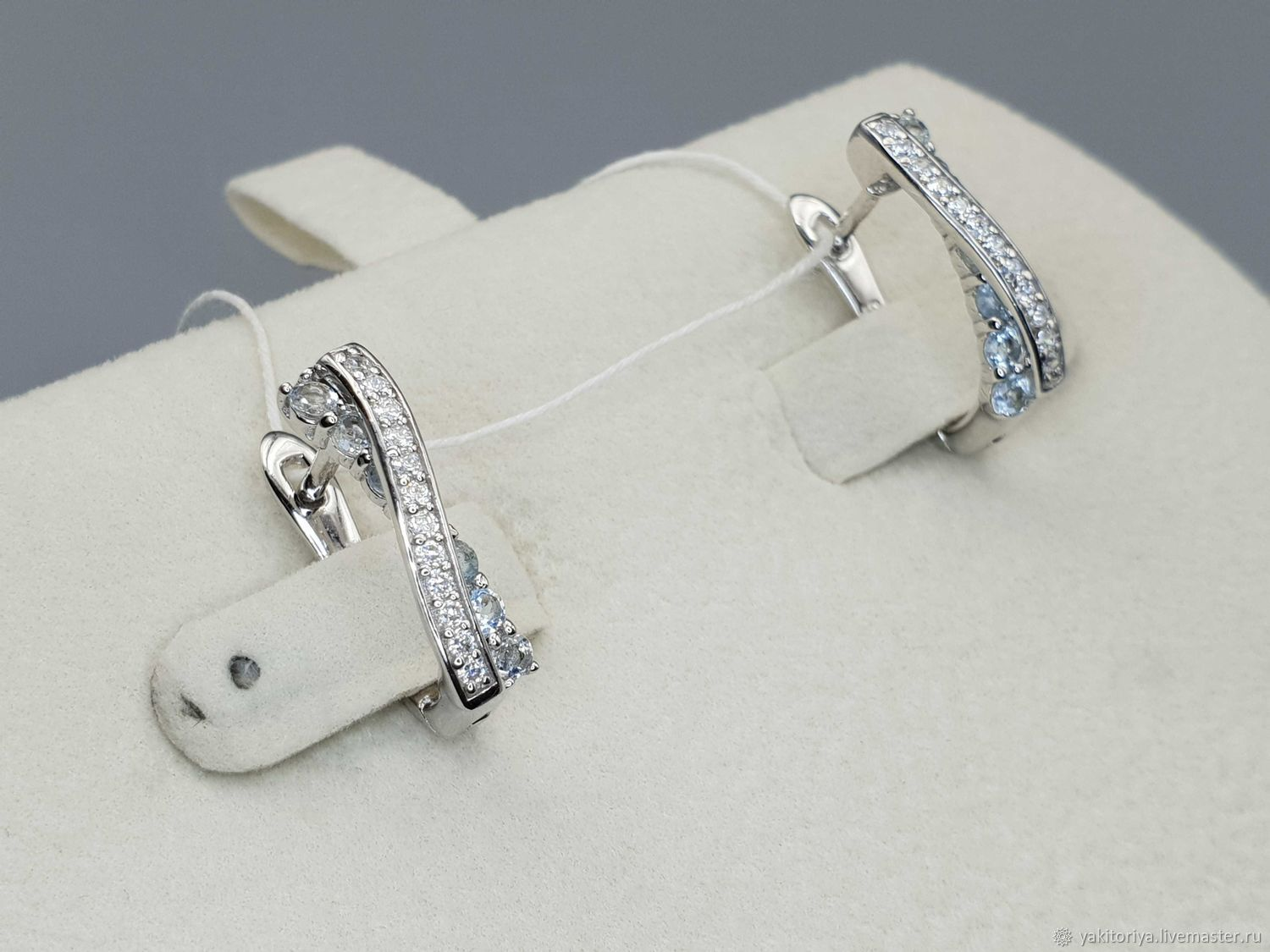 Silver earrings with topaz and cubic zirconia, Earrings, Moscow,  Фото №1