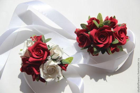 Свадебные украшения ручной работы. Ярмарка Мастеров - ручная работа. Купить Браслет на руку для подружек невесты с розами.. Handmade. Свадьба