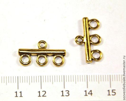 Для украшений ручной работы. Ярмарка Мастеров - ручная работа. Купить Коннектор с1 на 3 нити, цвет золото,. Handmade.