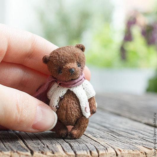 Мишки Тедди ручной работы. Ярмарка Мастеров - ручная работа. Купить Миниатюрный мишка Тим. Handmade. Коричневый, мини тедди