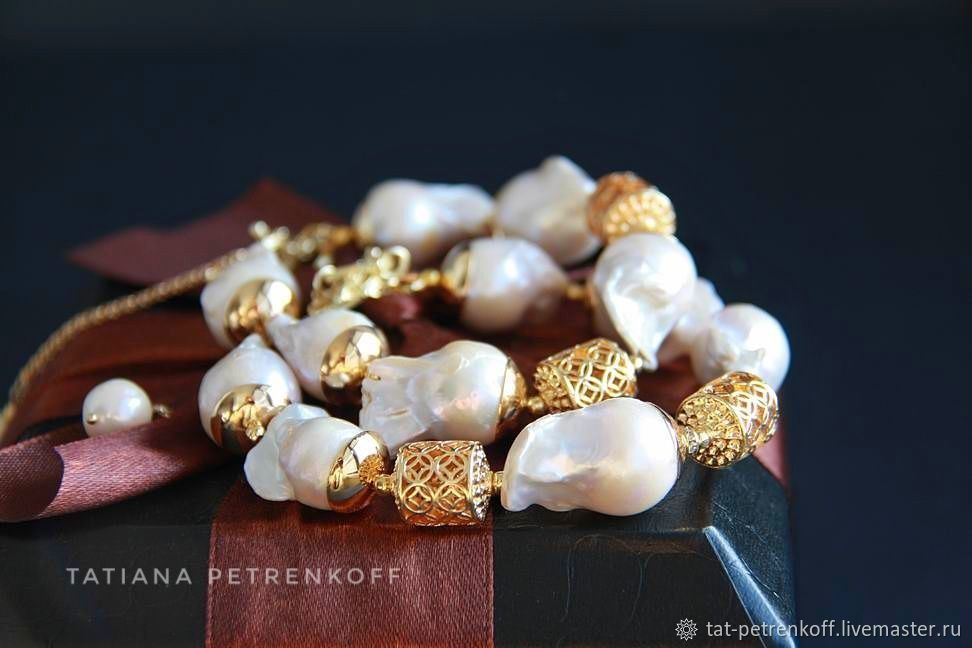 Bracelet /pair/ made of Baroque pearls, 24K 'Baroque' gold', Bead bracelet, Moscow,  Фото №1