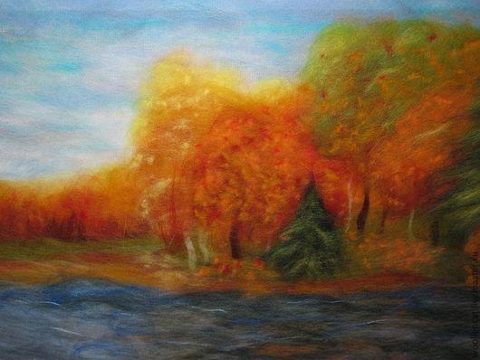 """Пейзаж ручной работы. Ярмарка Мастеров - ручная работа. Купить Шерстяная картина """"Золотая осень"""". Handmade. Осень, шерстяная акварель"""