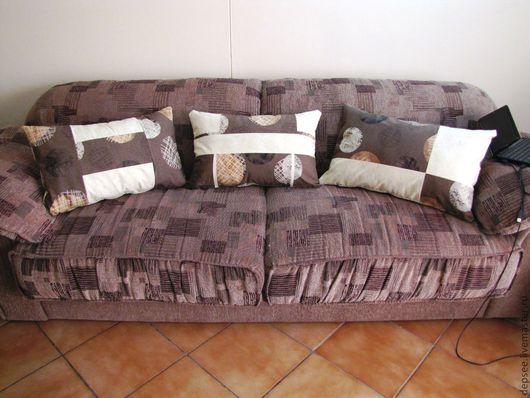 Текстиль, ковры ручной работы. Ярмарка Мастеров - ручная работа. Купить Подушки на диван, двусторонние чехлы для подушек на молнии. Handmade.