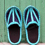 Обувь ручной работы handmade. Livemaster - original item Slippers suede, with the insole of felt with Turquoise blue East. Handmade.