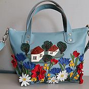 Сумки и аксессуары handmade. Livemaster - original item Bag leather women`s Bag with applique House in the village blue. Handmade.