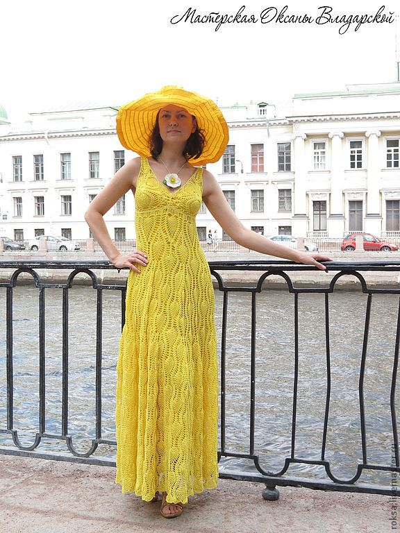 Knitted dress 'Pineapples in champagne', Sundresses, St. Petersburg,  Фото №1