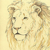 """Картины и панно ручной работы. Ярмарка Мастеров - ручная работа рисунок """"лев 1"""". Handmade."""