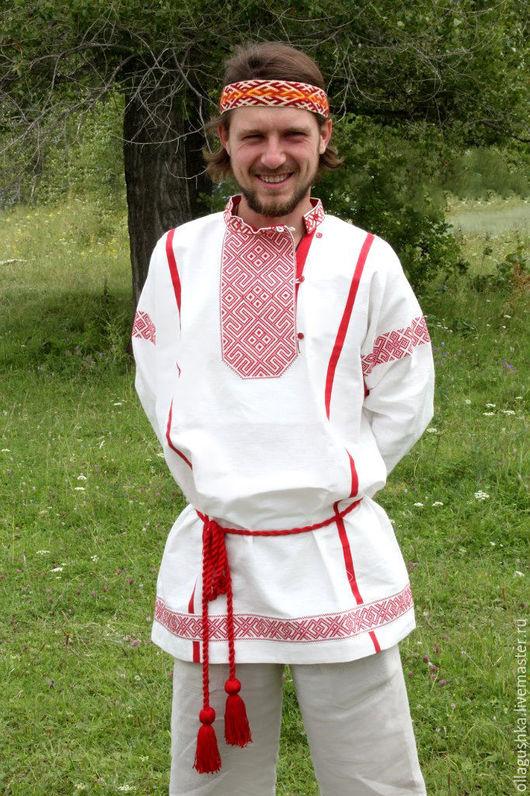 """Одежда ручной работы. Ярмарка Мастеров - ручная работа. Купить Рубаха славянская с символами Даждьбога """"Добрыня"""" бело-красная. Handmade."""