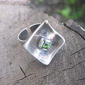 """Украшения ручной работы. Ярмарка Мастеров - ручная работа кольцо """"Островок"""" (зелёный турмалин,серебро,бронза). Handmade."""