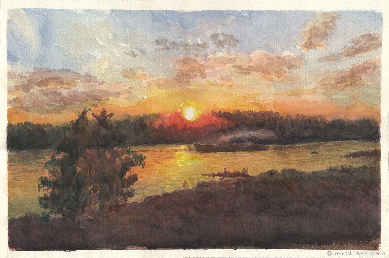 Акварельный пейзаж Закат на реке Неве, Картины, Санкт-Петербург,  Фото №1