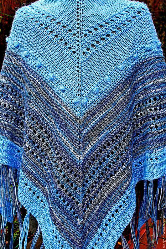 """Шали, палантины ручной работы. Ярмарка Мастеров - ручная работа. Купить Шаль """"Глубока река"""". Handmade. Голубой, серо-голубой"""